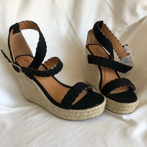 Qupid Strappy Suede Black Wedges Scallop Lace
